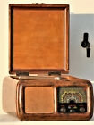 Vintage tube radio phonograph Ducati Italy antique wood collectible design 40s