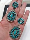 Native American Sterling Silver and Turquoise Petit Point Earrings Signed