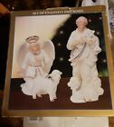VINTAGE BON TON JADE PORCELAIN NATIVITY SET 4 FIGURES ANGEL SHEPHERD 2 SHEEP
