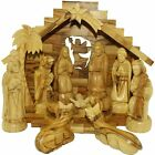 XL Stable with Detailed Olive Wood Nativity Figurines Christmas Tabletop Gift
