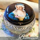 Antique Victorian Painted Lady Cut Glass Mirrored Powder Vanity Jar Estate