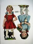 Delightful Large Vintage Die Cuts of Two Girls w Cat Duck Turnip  Carrots
