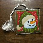 Vintage 3 Artist Signed PEGGY KARR Square Fused Glass SNOWMAN ORNAMENT EX