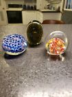 Vtg Millefiori Paperweights Cane flowers Controlled Bubble Art Glass 3 pc LOT