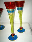 MURANO VENETIAN STYLE GLASSWARE CHAMPAGNE FLUTE GLASSES HAND PAINTED 10 3 4 LOOK