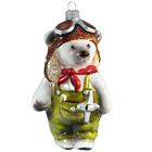 Bear Pilot Glass Christmas Tree Figurine Mouth Blown Hand Painted Russia