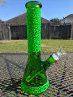 Glass Beaker Water Pipe Phoenix Glow in the Dark 10 inch 14mm Green