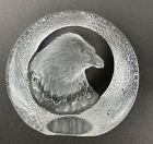 Mats Jonasson Eagle Paperweight Lead Crystal Sweden Signed 9201