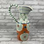 Anthropologie Jug Pitcher Vase Blue Orange Turquoise Floral Single Handle