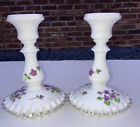 Fenton Violets In The Snow Candlestick Holders Silver Crest
