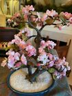 Vintage Bonsai Glass Cherry Blossom Flower Asian Pink Quartz Jade Tree