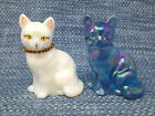 2 Lot Fenton Opalescent Glass Cat Set White Blue 375 EUC