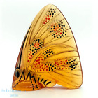 Vintage Lalique Amber Crystal Figurine Grand Nacre Enamel Butterfly Paperweight