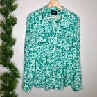 Anthropologie Maeve Button Up Shirt Blue Teal Floral Print Blouse Long Sleeve M