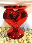 BATH  BODY WORKS GLASS RED LARGE 3 WICK CANDLE HOLDER HEART VALENTINE NEW