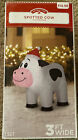 Christmas Inflatable Spotted Cow Airblown Gemmy 3 Ft Wide Holiday Time  New