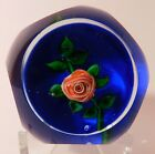 A GORGEOUS Signed BOB BANFORD PINK CRIMP ROSE Lampwork Art Glass PAPERWEIGHT