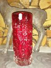 Whitefriars Ruby Red Textured Bark Effect Large Glass Vase 7 1 2 inch