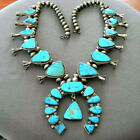 Huge Native American Geometrical Turquoise Stone Squash Blossom Bead Necklace