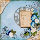 Handmade Blue  Cream Mixed Media Collage 12x12 Premade Scrapbook Page Layout