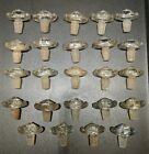 Lot of 24 Small Vintage Glass Cologne Perfume Soap Medicine Bottle Stoppers