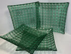 4 Recycled Fused Art Glass Green Basket Weave Pattern 85 Plates