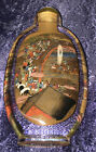 Vintage Reverse Inside Painted Chinese Community Scenes Snuff Glass Bottle 5