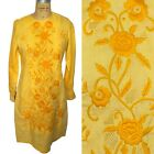 Vintage 60s Golden Yellow Embroidered Long Sleeve Boho Shift Dress