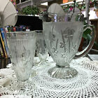 Vintage Janette Glass Footed Pitcher 3 Tall Glasses Iris  Herringbone