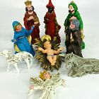 Vintage Christmas Hard Plastic Nativity 9 Pc Set Italy Woolworth Rare Nice