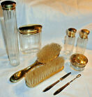 Vintage Made Germany Brass Glass 7 Piece Dresser Set Hat Pin Perfume Brush