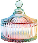 Luxury Colorful Tent Shaped Crystal Candy Jar Lid Clear Glass Wedding Bowl Food