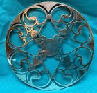 Antique Sterling Silver Overlay Glass Trivet with Lotus Flowers