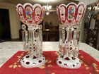 Beautiful Antique Pair of Bohemian Czech Glass Cranberry  White Mantle Lusters