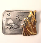 Vtg Ultra Craft Nativity Brooch Pin Jesus Wise Men Manger Stars Pewter Gold Tone