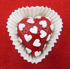Hulet Glass Handmade Petit Four Heart Red with White Hearts HRT11 OO1HW