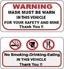 Warning Mask Must Be Warn And No Smoking Drinking Eating Taxi Bus Sticker P61