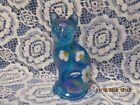 FENTON ART GLASS 2004 DANCING DAISIES STYLIZED CAT FIGURINE P FLEAK