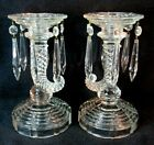 VINTAGE PAIR PATTERN GLASS WAVE AND SPIRAL HORN EAPG CANDLE STICKS PRISMS 85