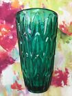 Vintage Czech Sklo Union Rosice Mid Century Green Art 8 Large Glass Vase VGC