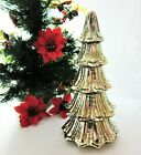 Mercury Glass Led Light Christmas Tree Antiqued GOLD Speckled Fluted 5 Tier 12
