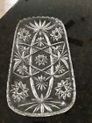 Vintage Cut Glass Crystal large Condiment Dish Star Burst Pattern Relish Tray