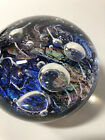 Vintage Art Glass Paperweight Rebecca Stewart 1996 Bubbles Colorful Fine Signed