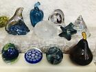 Lot of 10 Art Glass Paperweights Murano Williams DCD BiotWhite Buffalo Glass