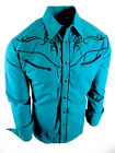 Rodeo Brand Western Shirt Mens Turquoise Blue Floral Embroidery Pockets Snap Up