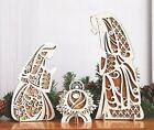 Rustic Wooden Carved Holy Family Nativity Christmas Table Display 3 Pc Set