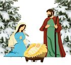 3 PC Large Colored Heavy Metal Standing Nativity Set Christmas Yard Decor 43H