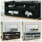 58 TV Stand Cabinet Unit Solid Wood Glass Entertainment Center For TVs To 75