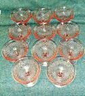 Imperial Pink Depression Glass Diamond Quilted Set of 11 Sherbets