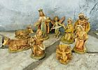 Fontanini Vtg Nativity Set Mary Joseph Jesus Donkey Ox Angel Wise Men 120 Set